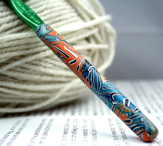 Polymer clay crochet hook, Susan Bates new size K10.5/6.50mm, OOAK design