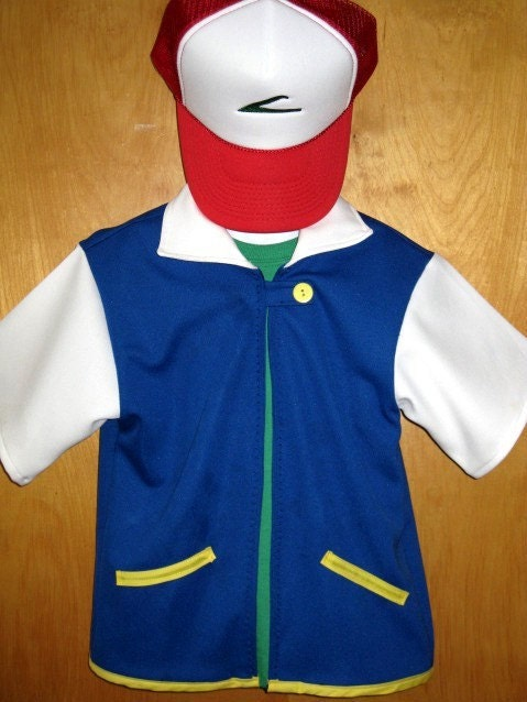 Custom Ash Pokemon Costume Jacket Embroidered Trucker Hat Cap