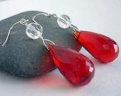 Red Teardrop &  Crystal Dangle Sterling Silver Earrings