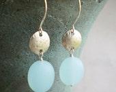 Frosted glass earrings, seafoam, dangle, sterling silver