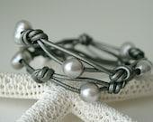 Metallic grey leather bracelet, Pearl leather wrap bracelet,  titanium gray
