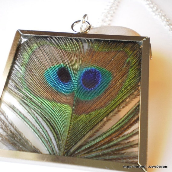 Rare double eyed India Blue peacock feather necklace, One of a kind