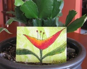 ACEO original flower series, happy orange abstract on green background