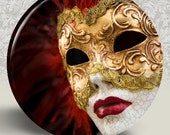 "Venetian Carnivale Mardi Gras Carnival Mask Pocket Mirror or Magnet -2.25"""
