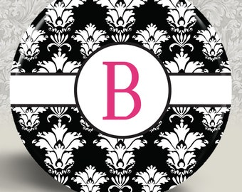 "Damask Pocket Mirror or Magnet 2.25"" 2-1/4 Inch - Custom Initial Monogram - Design Name: Belle"
