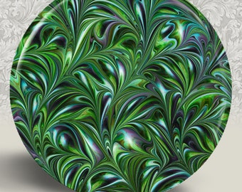 "Marble Swirl Emerald Green Pocket Mirror or Magnet - 2-1/4"" 2.25"""