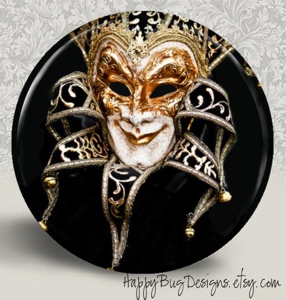 "SALE Venetian Carnivale Carnival Mask - Pocket Mirror or Magnet - 2.25"" 2-1/4 inch"