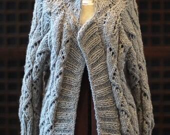 Hand Knit Gray Boyfriend Cardigan Sweater