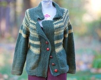Hand Knit Fair Isle Sweater Cardigan
