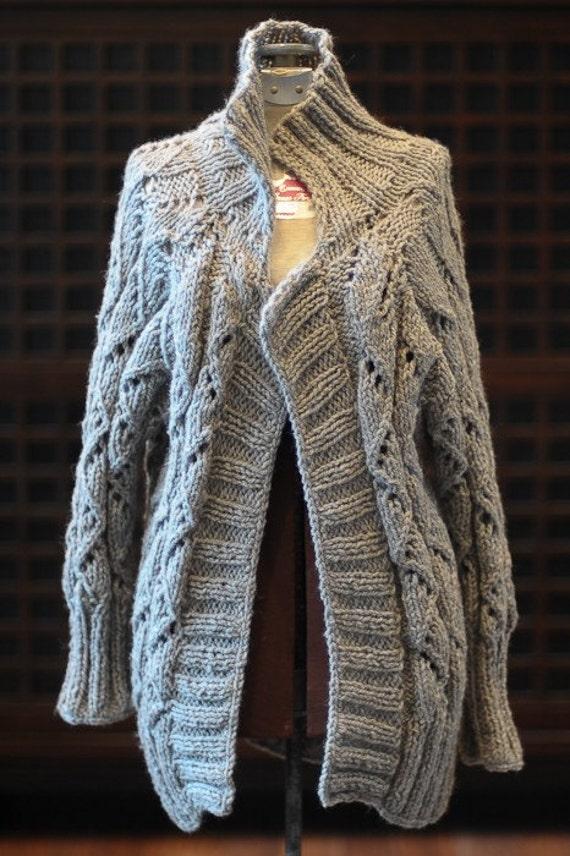 Hand Knit Gray Cardigan Sweater