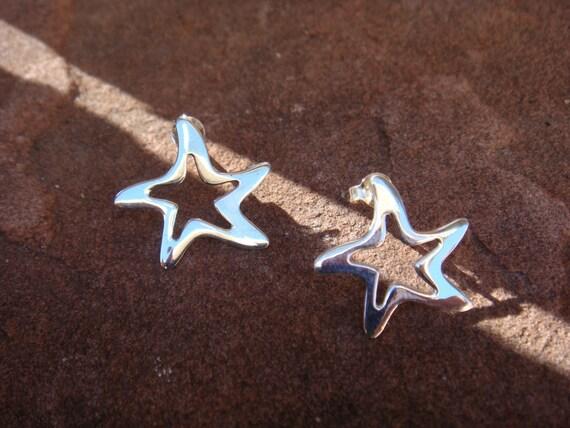 Sterling Silver Star Fish Earrings Post