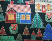 Christmas Holiday Fabric Colorful Houses, Trees and Wreaths with a Black Background 2 Yards