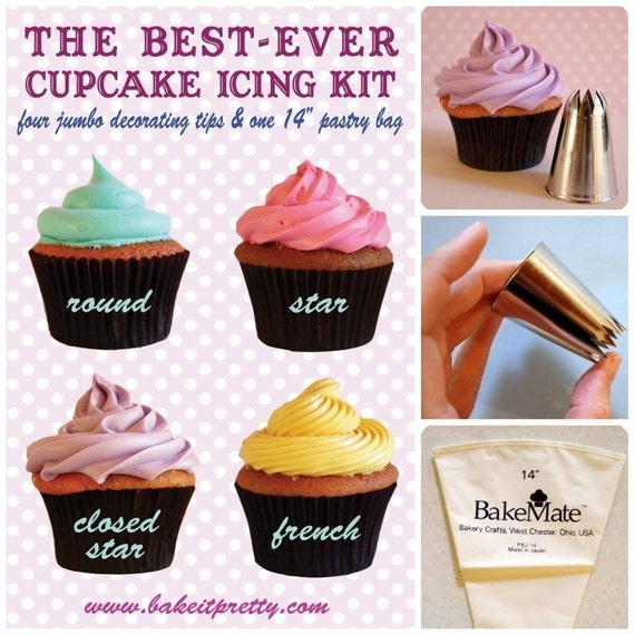 Best-Ever Cupcake Icing Kit - Four Jumbo Decorating Tips with Pastry ...