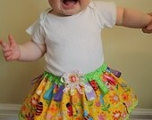 Twirl Tag Baby Skirt Size 6 to 18 months Spring Bugs Butterflies Flowers - SALE -