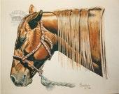 Sleepy Saddle Horse Print entitled 'Nap Time' by B.Bruckner