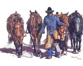 Cowboy, His Horses and Dog Art Print in Colored Pencil