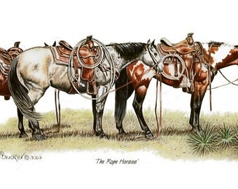 The Rope Horses, Decorator Print from Colored Pencil Drawing - B Bruckner