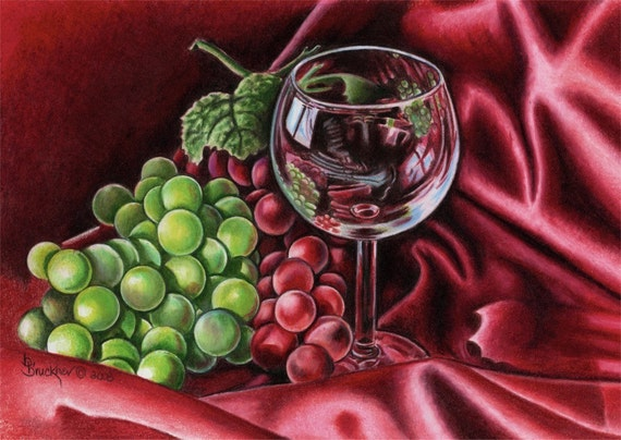 Wine Glass and Grapes Print by B.Bruckner
