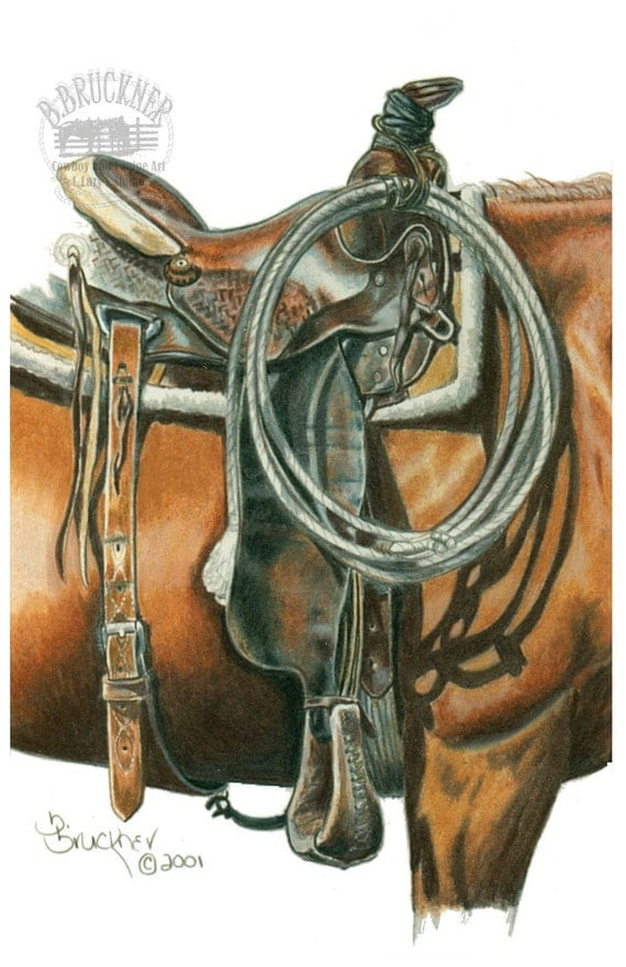 Saddle Detail Western Art Print by B.Bruckner