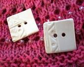 Two Medium Square White Ceramic Buttons