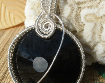 Jet Black glass crystal sun disk wire wrapped handmade pendant large bail