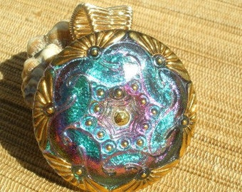 Blue purple teal Czech glass large button bailed wire wrapped pendant