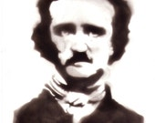 Fumage portrait. Edgar Allan Poe. Candle soot painting. Unusual techique. Halloween.