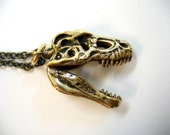 Moon Raven Designs 3D Bronze T-Rex  Skull Pendant Necklace with Articulated Lower Jaw