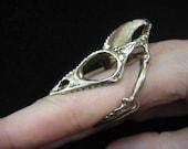 Life Size Bronze Chameleon Lizard Skull Finger Ring  - Moon Raven Designs 051