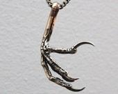 Bird Foot Pendant Necklace in Solid Bronze