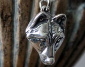 Wolf Necklace in Solid Sterling Silver Wolf Face Just for the Girls 017