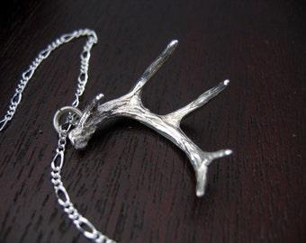 Antler Necklace Solid Sterling Silver Deer Antler Necklace 004