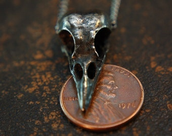 Raven Skull Necklace -  Ancient  Oxidized Metal 2020