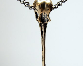 Hummingbird Skull Necklace Bronze Hummingbird Skull Pendant 008