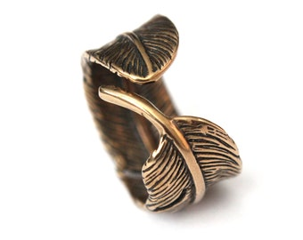 Feather Ring Raven Feather Bypass Ring Bronze Feather Ring 043