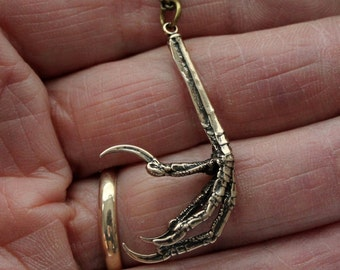 Bird Claw Necklace in Solid Bronze Bird Foot Bird Talon Pendant Necklace 056