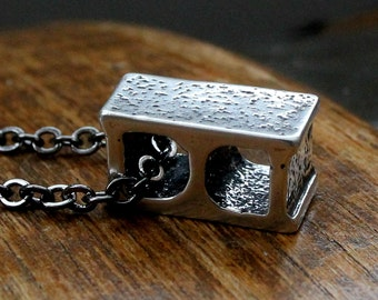 Cinder Block Necklace Solid Sterling Silver Cinder Block Pendant Necklace 079