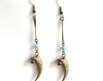 Owl Talon and Turquoise Earrings - Primal Elegance - Moon Raven Designs 013