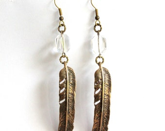Bronze Feather and Crystal Earrings - Primal Elegance Raven Feather Earrings 067