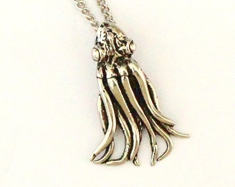 Two for One Sale...Squid Necklace Silver Baby Squid Pendant Necklace 148