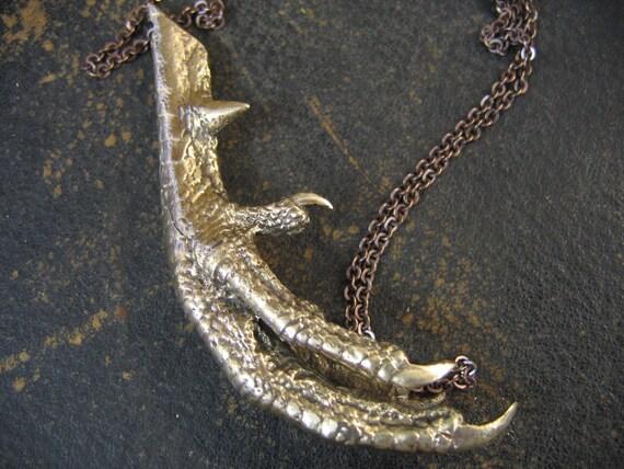 Cast Your Spell Bronze Voodoo Chicken Foot Pendant Necklace