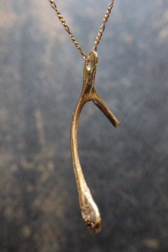 Wishbone Necklace - A Thanksgiving Wish Wishbone Pendant Necklace in Solid Bronze Wishbone 068