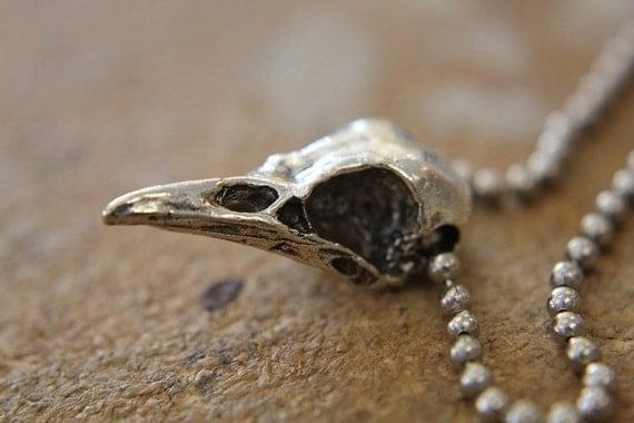 Raven Skull  Pendant Necklace - Silver Plated Metal - Bird Crow - Moon Raven Designs
