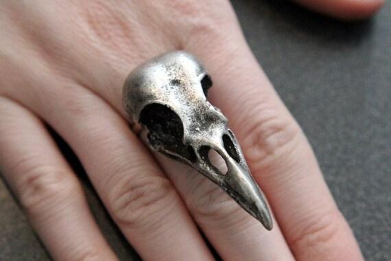 Bird Skull Ring Crow Raven
