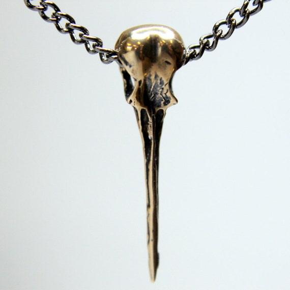 Hummingbird Skull Necklace Bronze Hummingbird Skull Pendant 008