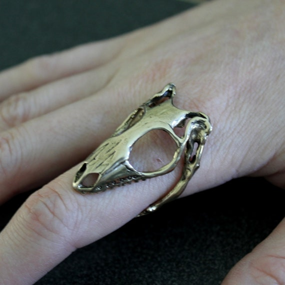 two for one sale lizard skull ring bronze skink skull ring