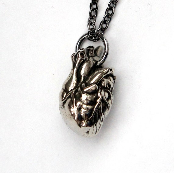 "Anatomical Heart Jewelry Antique Silver Anatomical Heart on 24"" Gunmetal Chain"