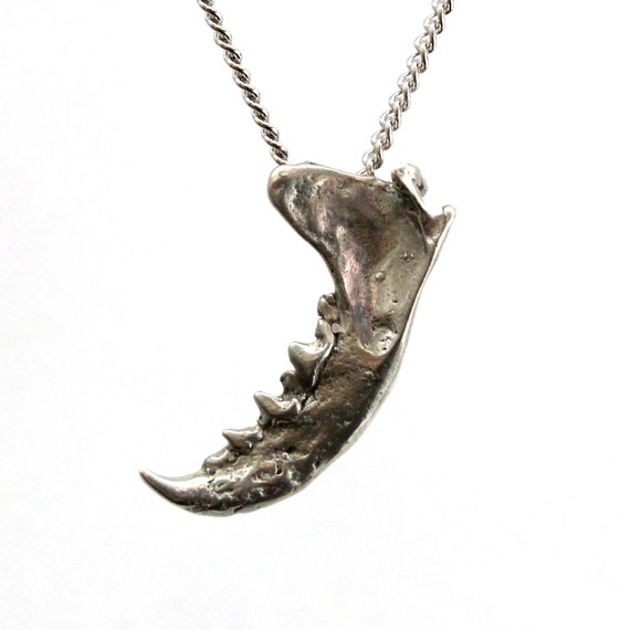 Mink Jaw Pendant Necklace in Sterling Silver