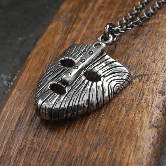 Mask Of Loki Necklace Silver Viking Mask of Loki Pendant Necklace 146