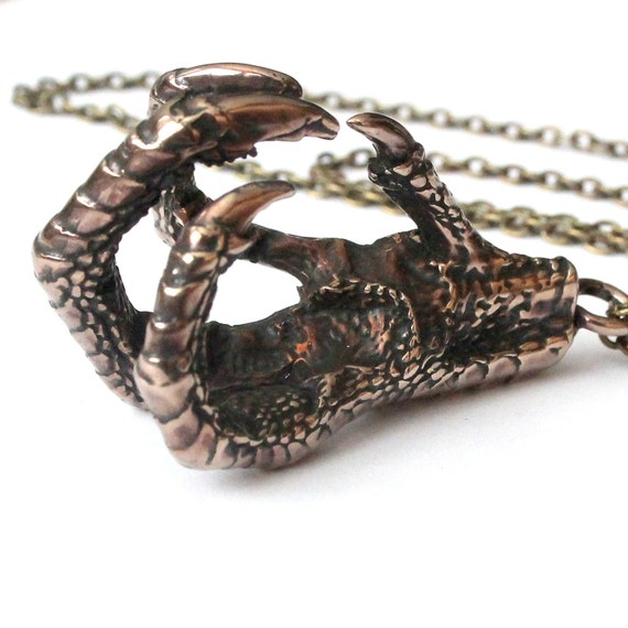 Chicken Claw Necklace  Bronze Chicken Foot Pendant Necklace Cast Your Voodoo Spell 144